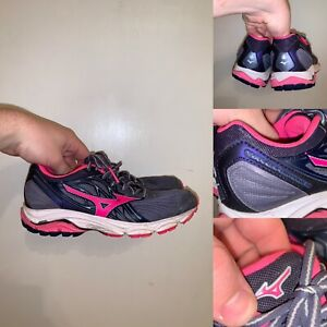 Mizuno-Wave-Inspire-Womens-Size-6-Running-Shoes-Blue-Pink-Lace-Up-Comfort-Logo