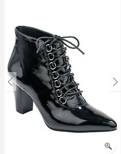 Patent New Ladies Lace In Boots up Black 8 Size Box Heine qwPU4Rnx4