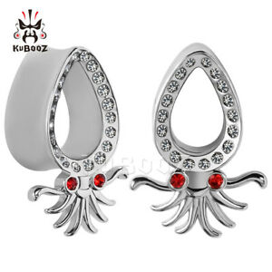 Diamond-Octopus-Design-Ear-Gauges-and-Ear-Tunnels-Body-Piercing-Ear-Plugs-2pcs