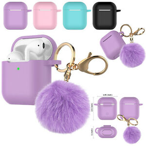 Airpods Case Silicone Cover Fur Ball Keychain For Apple Airpod 1 2 Charging Case Ebay