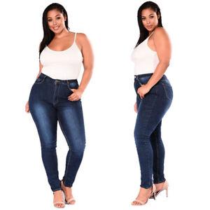 da6843ad68f Women Plus Size Stretch Slim Denim Stripe Jeans Pants High Waist ...