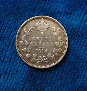 1914 CANADA Canadian FIVE 5 cents piece silver coin B