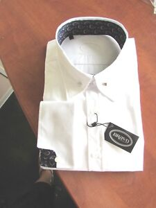 DOUBLE CUFF NAVY PAISLEY TRIM TO COLLAR/&CUFF NEW WHITE POINTED COLLAR PIN SHIRT