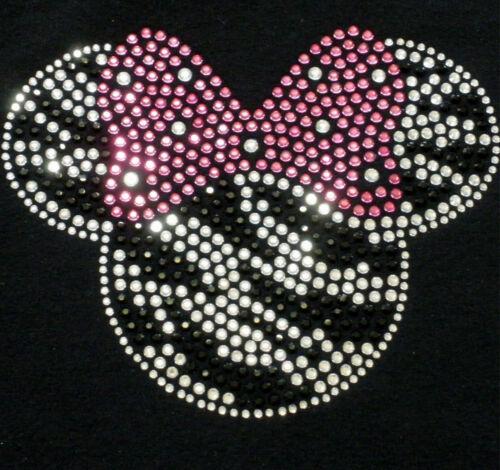"7/"" ZEBRA Minnie Mouse pink bow iron on Disney rhinestone transfer for costume"