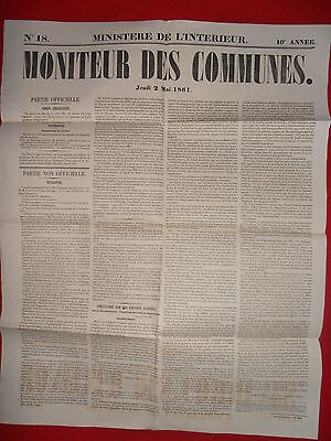 Journal Le Moniteur Des Communes Ministere De L'interieur N°18 - 2 Mai 1861