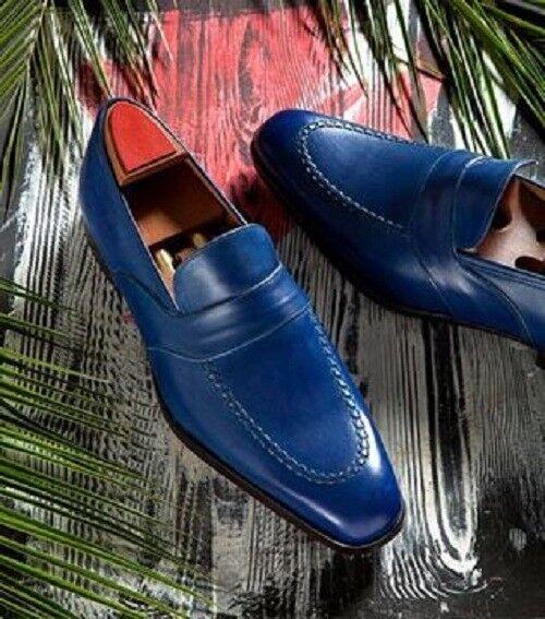 Zapatos De Cuero hecho a Mano Cuero Zapatos para hombre Azul Marino, Azul Hombre Formal