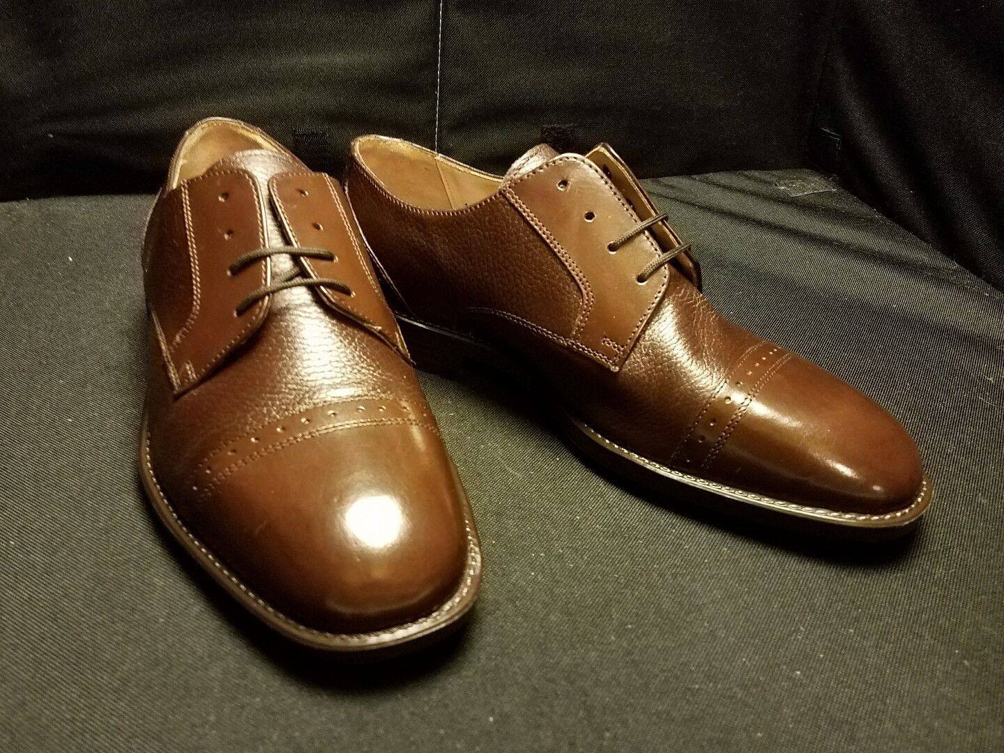 NWOB STANLEY PEBBLED BLACKER 10WIDE PEBBLED STANLEY BRN/SMOOTH CAP TOE LACED HAND MADE OXFORD 78ce14