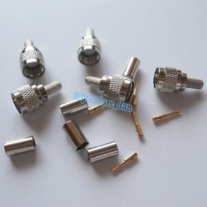 10X-MiniUHF-Mini-UHF-male-plug-crimp-RG58-RG142-LMR195-RG400-cable-RF-Connector