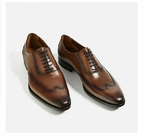 MEN HANDMADE FORMAL SHOES REAL LEATHER WINGTIP BROWN LACE UP DRESS SHOES