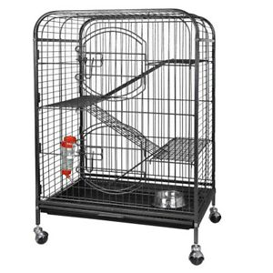 Foldable-37-Ferret-Home-Pet-Cage-Small-Animals-Hutch-with-2-Front-Doors-amp-Tray