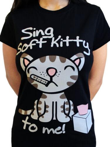 Soft Kitty Big Bang Theory Official Penny Sheldon Bazinga Black Womens T-shirt