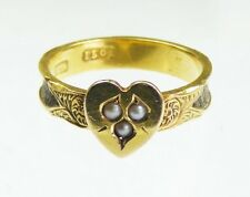 15ct Gold Antique Heart Hair Mourning  Ring