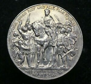 Germany, Prussia, Silver 3 Marks, Wilhelm II, 100yrs Defeat of Napoleon UNC