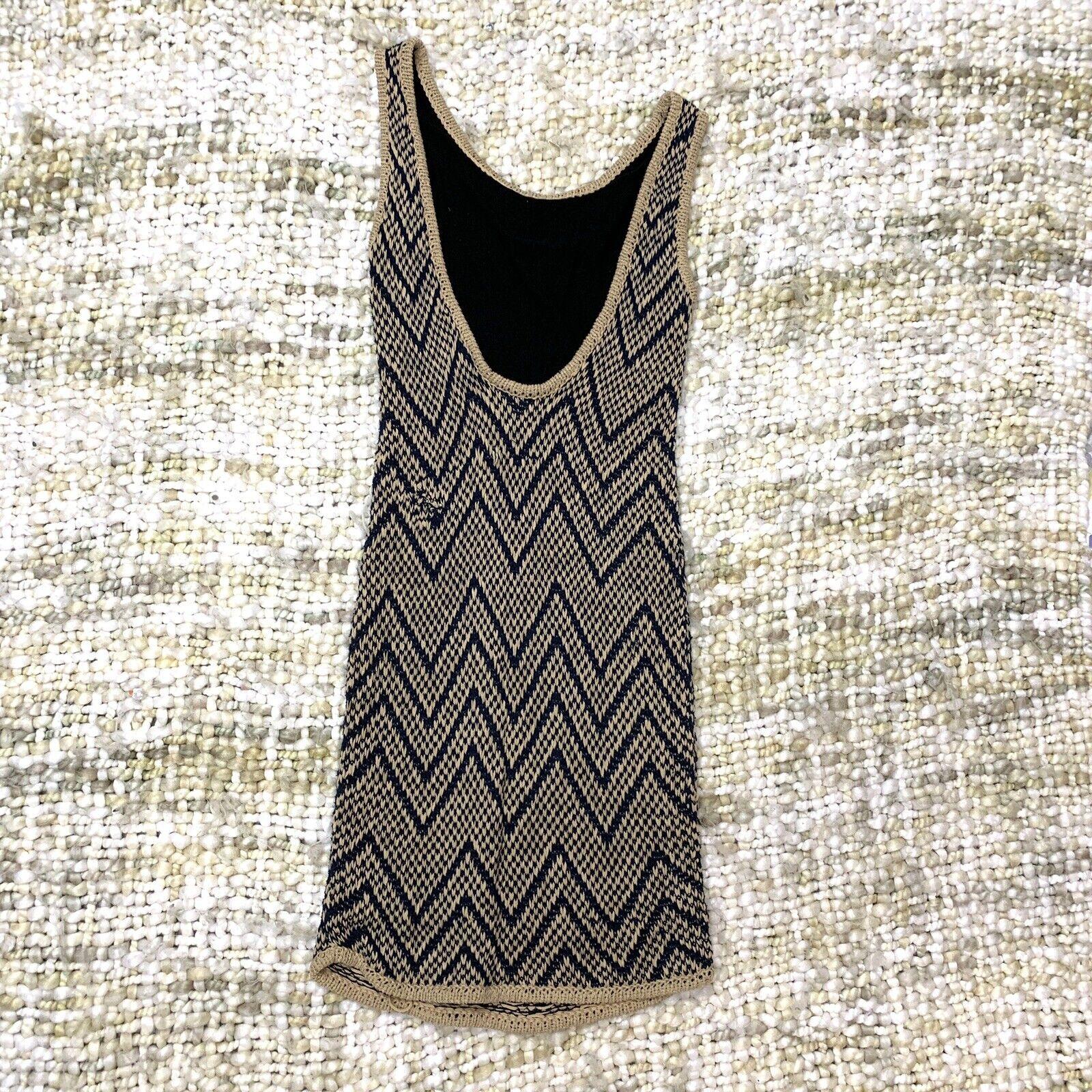Rag Bone Knit Sleeveless Tank Dress Tan and Blue … - image 3