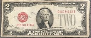 Usa 2 Dollar United States Note Red Seal Series 1928 D Erhaltung Banknote 8441 Ebay