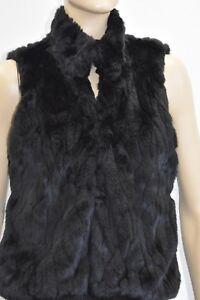 CI-SONO-Cavalini-Black-Faux-Fur-Vest-Size-Small-On-Sale