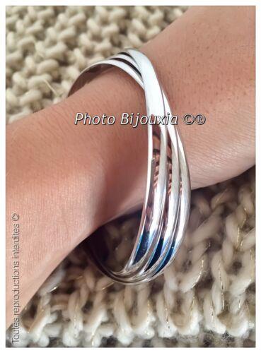 Bracelets Triple DEMI-JONCS 6,6 MM Argent Massif 925//1000  Rhodié Bijoux Femme
