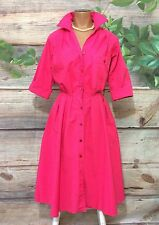 Vintage Pink Tea Dress Small Housewife Inspired Button Down Tunic Vtg S Pockets