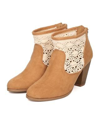 New <b>Women</b> Qupid Nixon-71 <b>Faux Suede</b> Crochet Chunky Heel ...