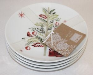 222-Fifth-Winter-Cheer-Porcelain-White-Holiday-Appetizer-Plates-Set-of-4-New