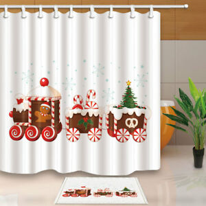 Details About Xmas Train Made Of Gingerbread Cream And Candies Bath Fabric Shower Curtain 71