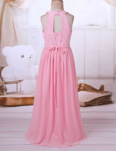 Flower Girl Dress Rhinestone Maxi Party Wedding Formal Lace Floral Romper Dress