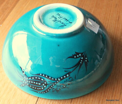 hand painted Decorative Jade Green Turkish ceramic bowls 16cm handmade