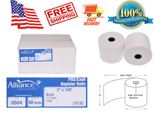 "Alliance Bond Paper Receipt Rolls 50 Rolls Per Carton Register Cash 3/""x150/'"