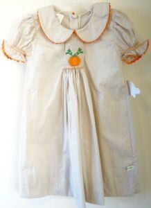 d35810237c12f New With Tags Lolly Wolly Doodle Smocked Pumpkin Dress Girl's Sz 5 ...