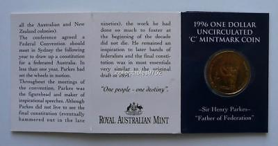 Wholesale! 10 x 1996 Sir Henry Parkes Father of Fed $1 Unc /'A/' Mintmark Coin