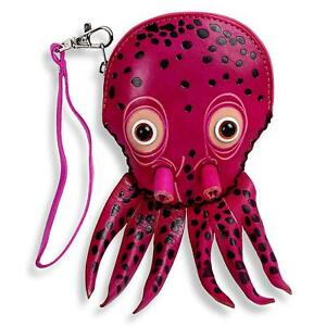 Octopus-Zippered-Coin-Wristlet-Purse-Zippered-Wallet-Handmade-Leather-Gift-Pink