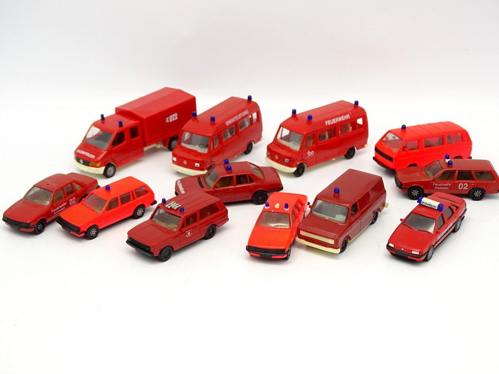 Herpa 1 87 HO - Lote de 12 vehículos Bomberos Feuerwehr   Mercedes - VW - Opel