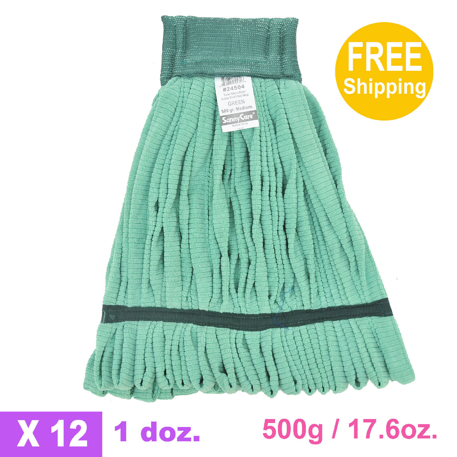 1doz. 500g 17.6oz. SunnyCare Green Tube Microfiber Loop-End Wet Mop 12 CS