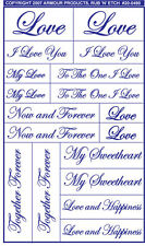 Armour Rub 'n' Etch Glass Etching Stencil ~ Love Romantic Words