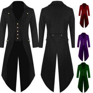 Raylans Men's Tailcoat Jacket Gothic Steampunk Victorian Frock Coat Uniform Long Coat