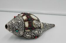 "ANTIQUE ORNATE OLD TIBETAN SILVER 8-1/2"" CONCH SHELL RITUAL HORN W/ TURQUOISE"