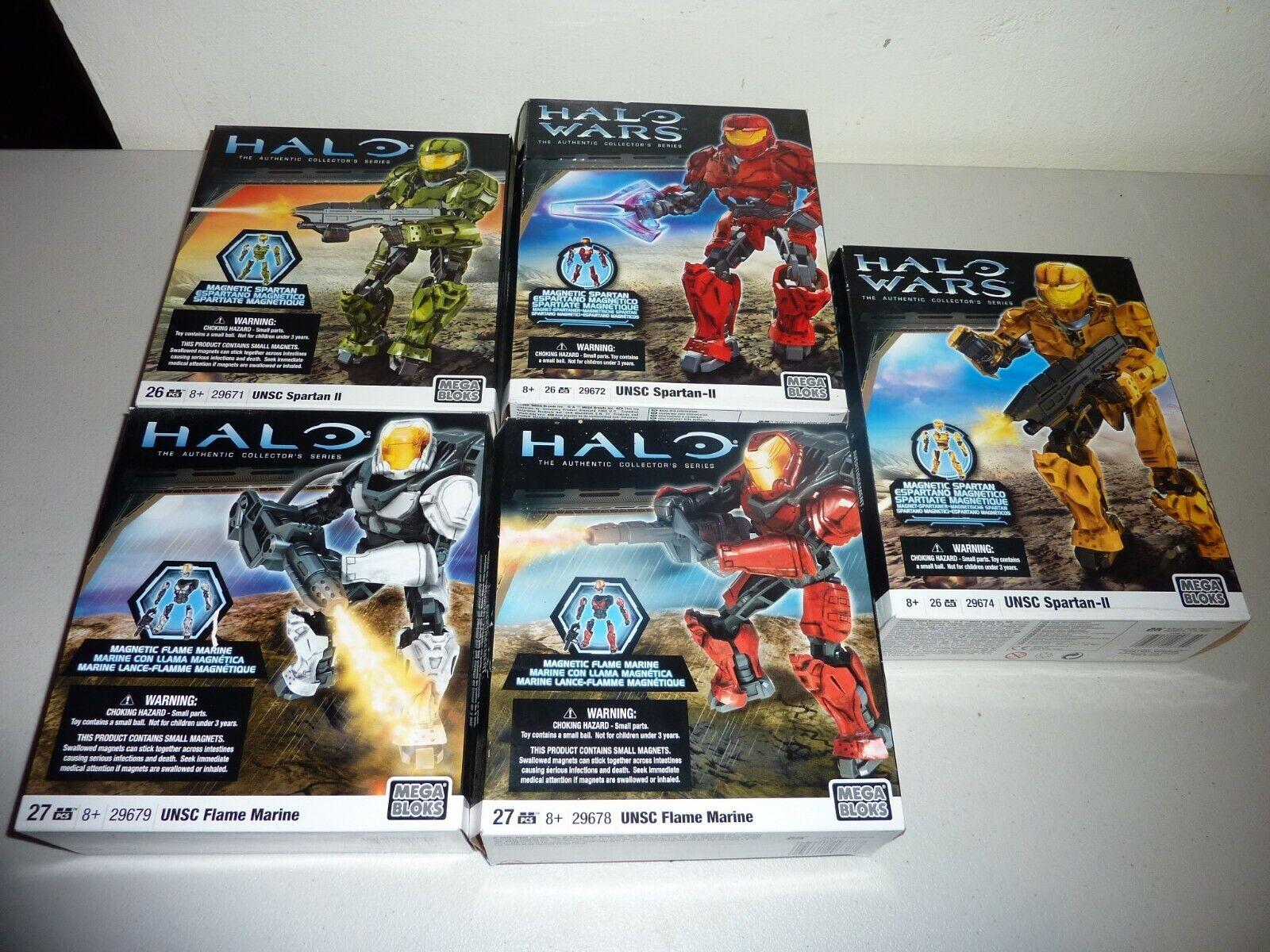 5 halo megabloks unsc spartan II flame marine 29674 29672 29678 29671 new sealed