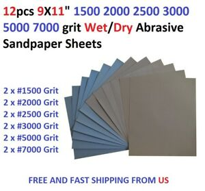 "12pcs 9X11"" 1500 2000 2500 3000 5000 7000 grit Wet/dry Abrasive Sandpaper Sheets"