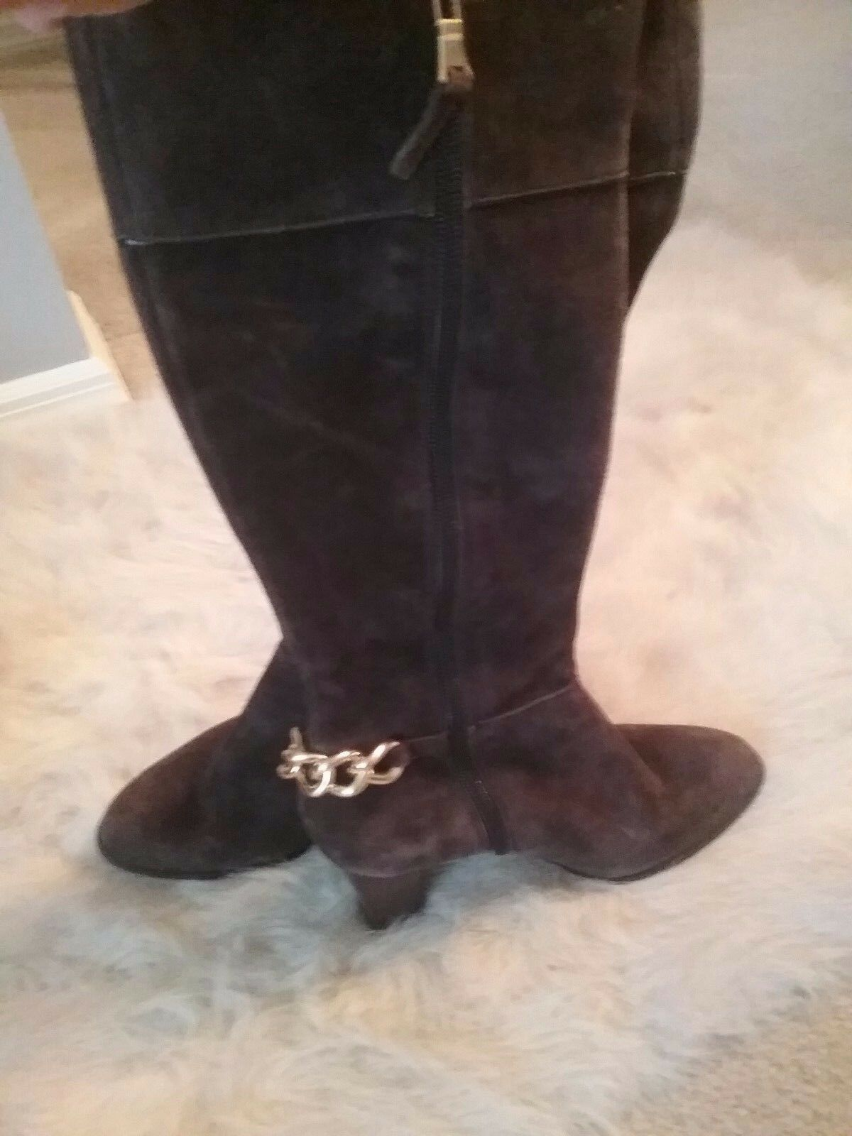 Tahari suede brown leather knee high boots size 6 6 6 preowned 5d3ee1