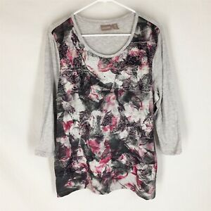 CHICO-039-S-Gray-Blouse-Top-Plus-Size-3-Lace-Front-Floral-Boxey-Womens