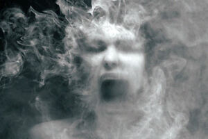Details about Framed Print - Screaming Face Falling through the Smoke of  Oblivion (Gothic Art)