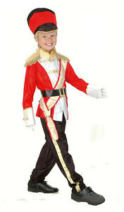GARDE-ROYALE-rouge-soldat-garcons-Marching-Band-MILITAIRE-COSTUME-NEUF-4-6-ans
