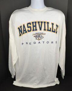 NHL-Nashville-Predators-Long-Sleeve-T-Shirt-100-Cotton-White-Large