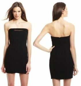 41f54bb88477 Image is loading BCBG-Max-Azria-Black-Strapless-Bodycon-Dress-Size-