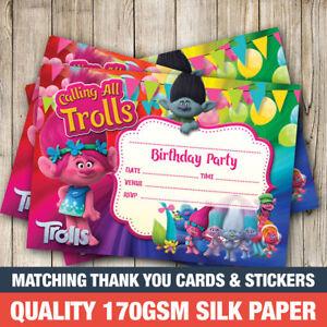20 x trolls birthday party invitations girl invites ebay