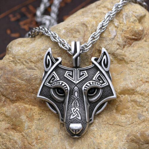 Norse Vikings Pendant Necklace Norse Wolf Head Jewelry