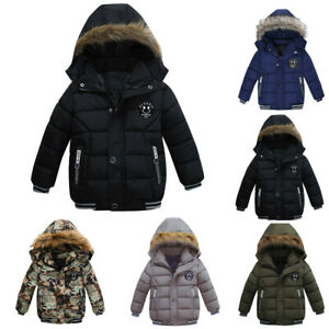 Toddler Kids Baby Boys Girls Winter Warm Hooded Furry Coat Thick Jacket Outwear