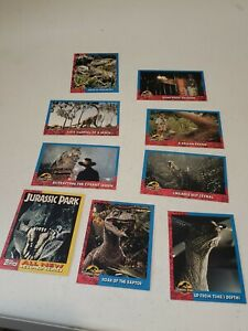 Lot-of-9-Card-1993-Topps-Jurassic-Park-Original-Film-Paper-Trading-Cards-EUC