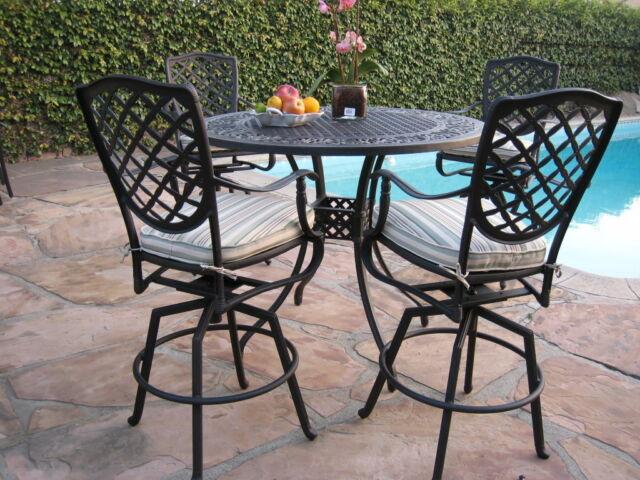 Outdoor Cast Aluminum Patio Furniture 5, Aluminum Patio Bar Set