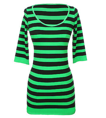 Sexy Seamless Round Neck Striped Half Sleeve Tunic Dress Stretchable Spandex